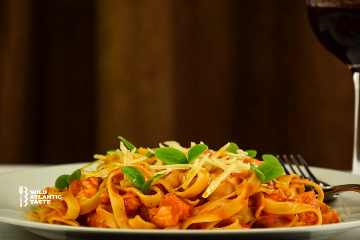 Atlantic salmon pasta in tomato sauce