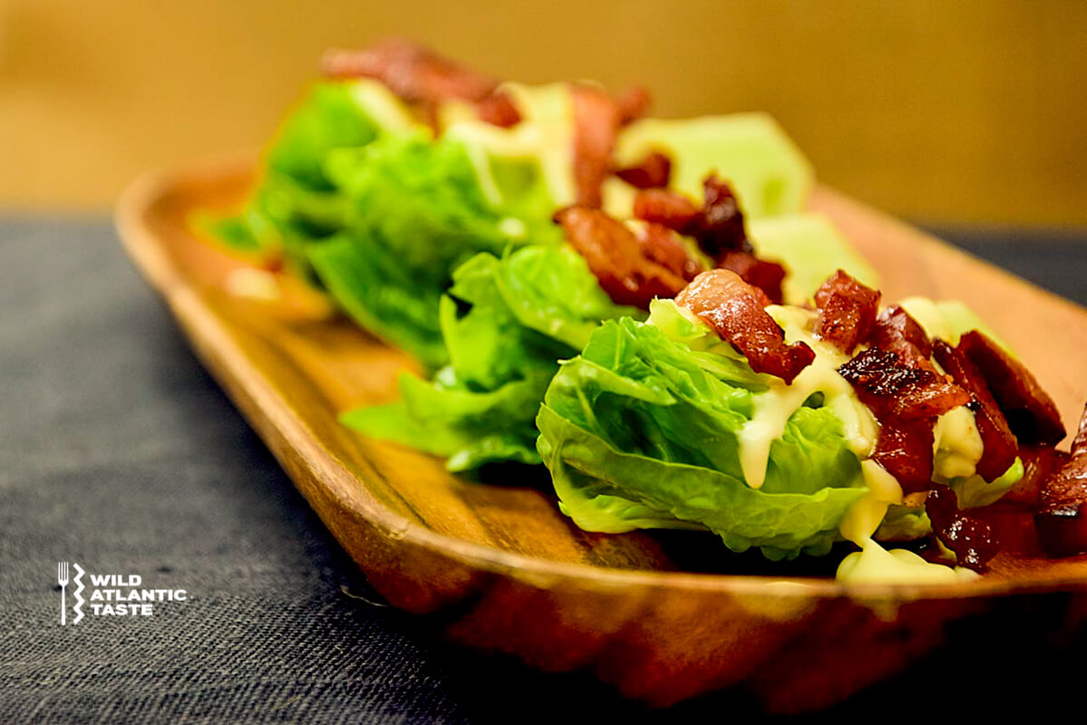 Baby gem salad wedges with cashel blue cheese dressing and bacon