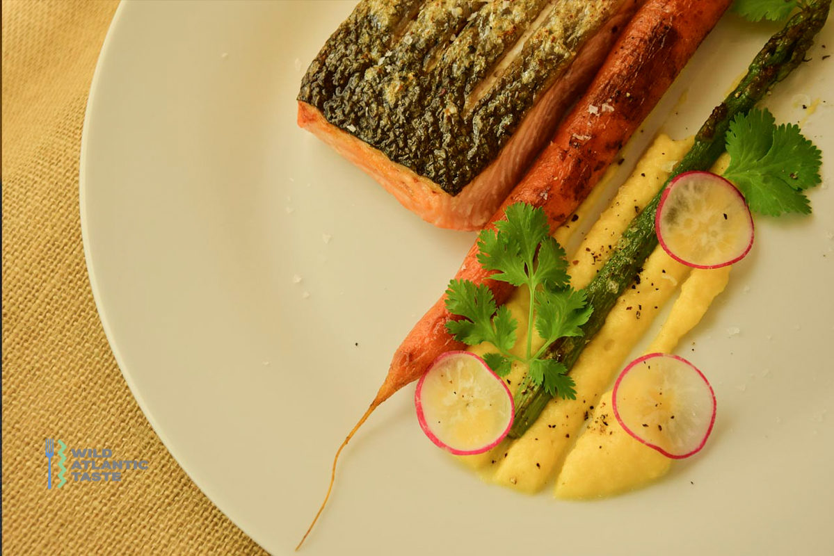 Baked Atlantic salmon with asparagus, carrot and turnip purée