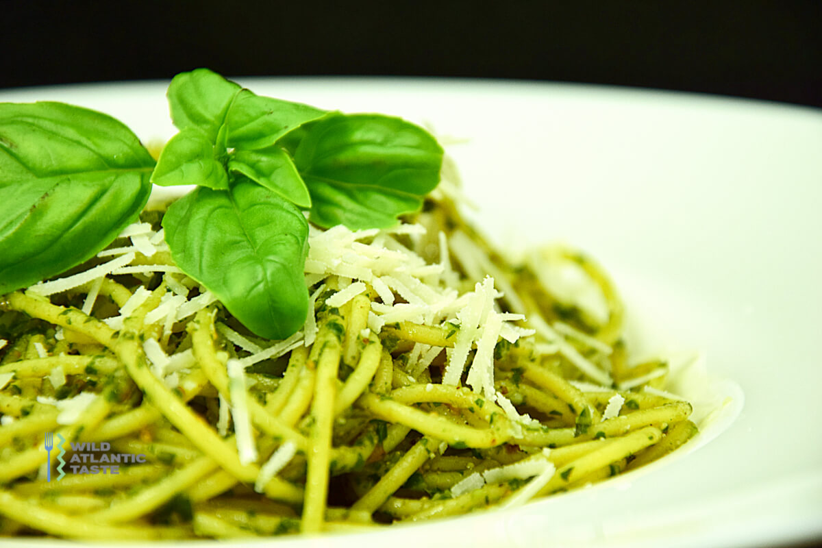 Basil pesto with spaghetti