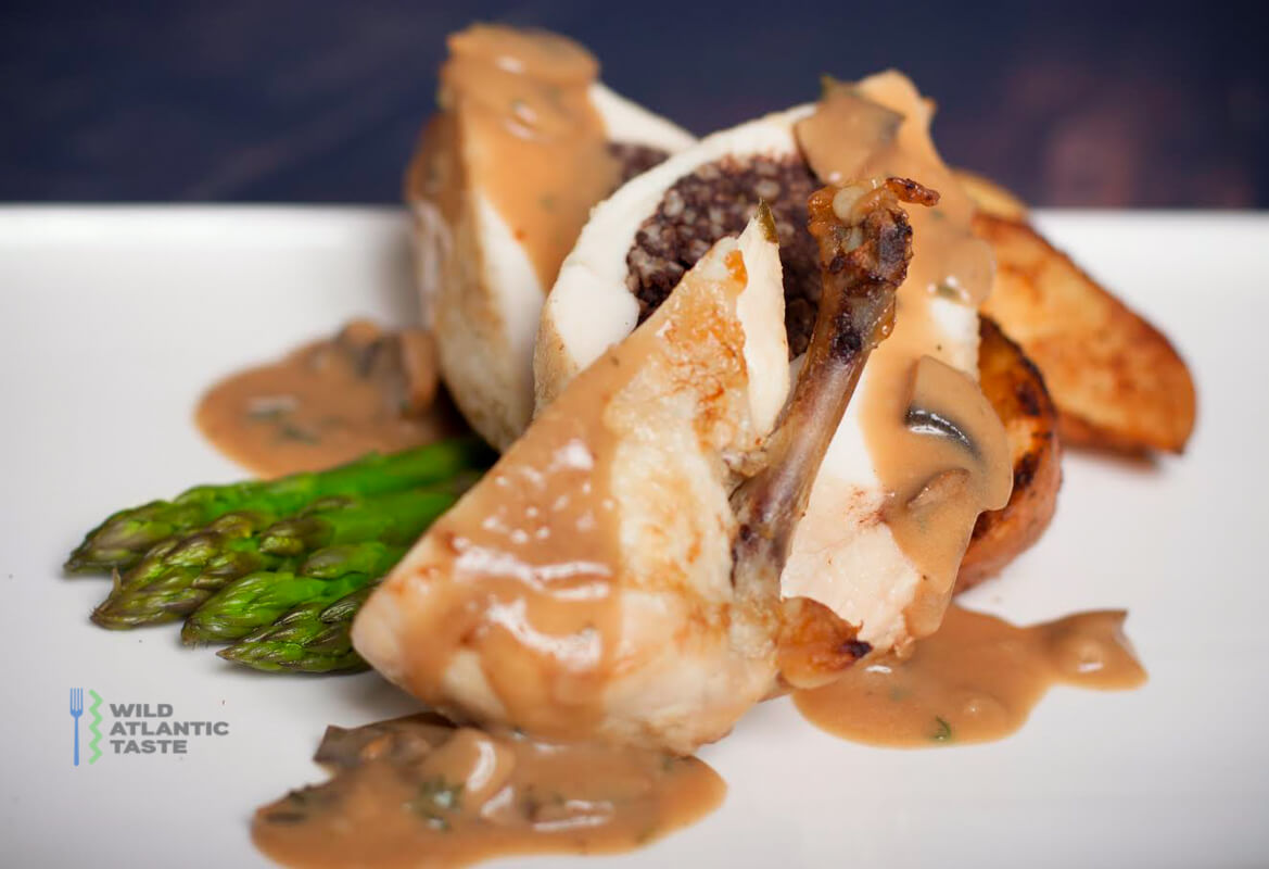 Chicken supreme stuffed with Clonakilty black pudding