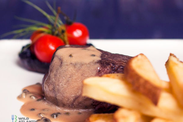 Fillet of beef steak with pepper sauce