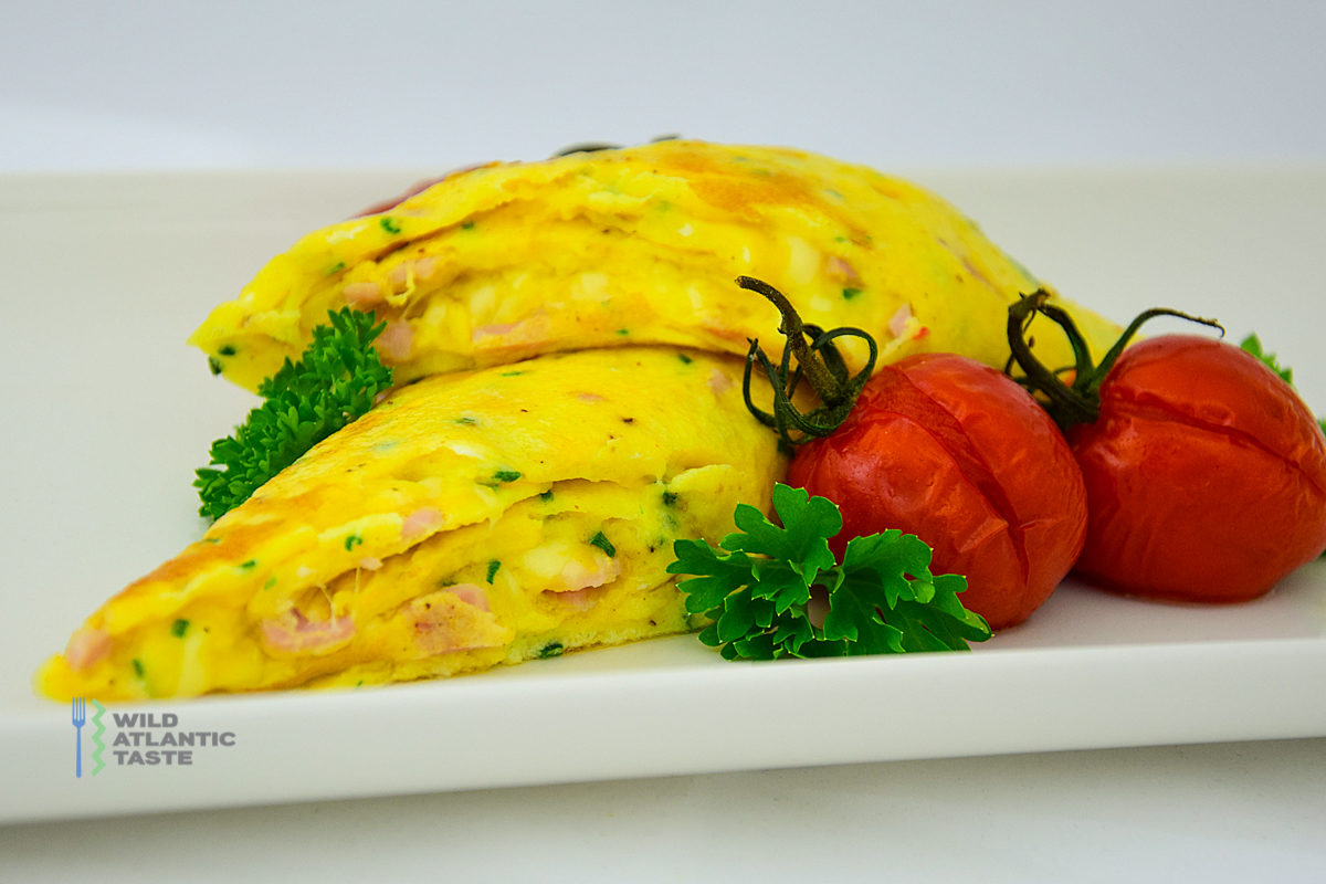 French omelette with ham and cheese