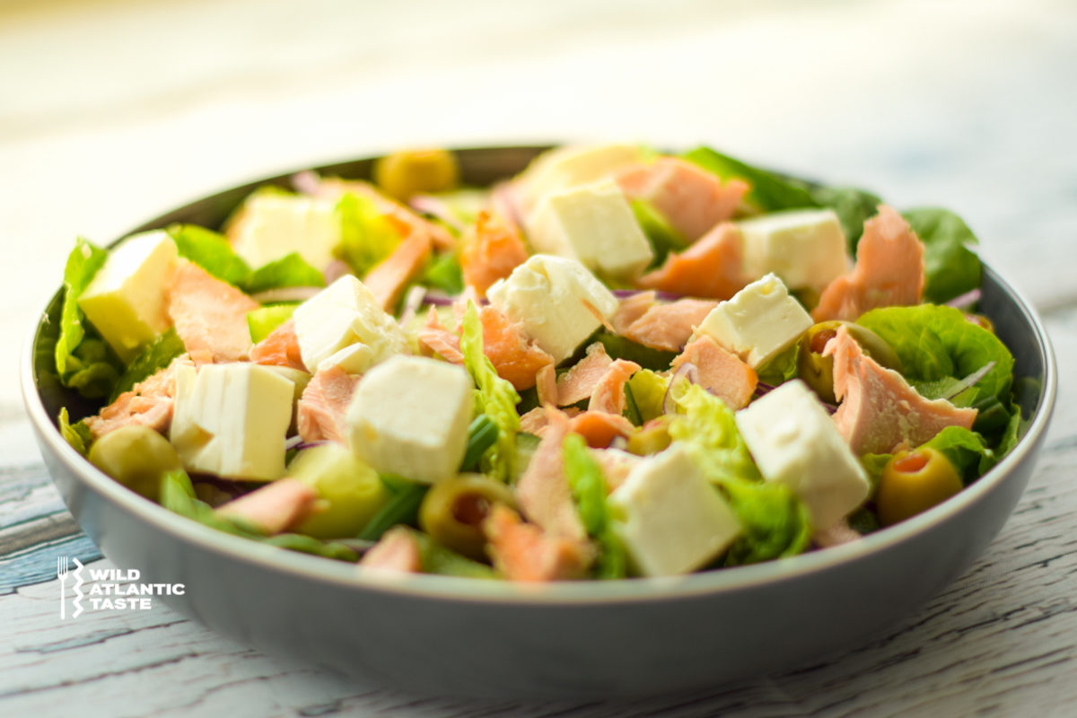 Green Atlantic salmon salad
