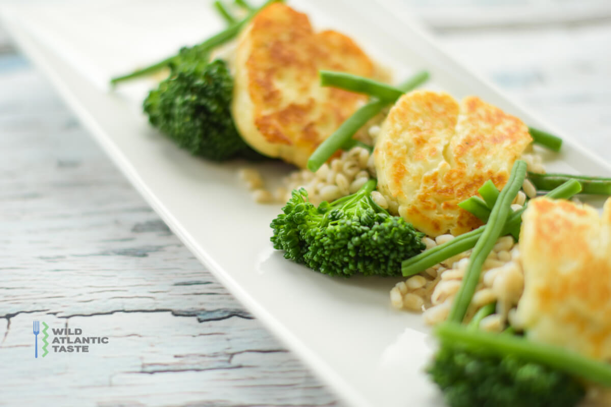 Green beans, tender-stem broccoli and pearl barley halloumi salad