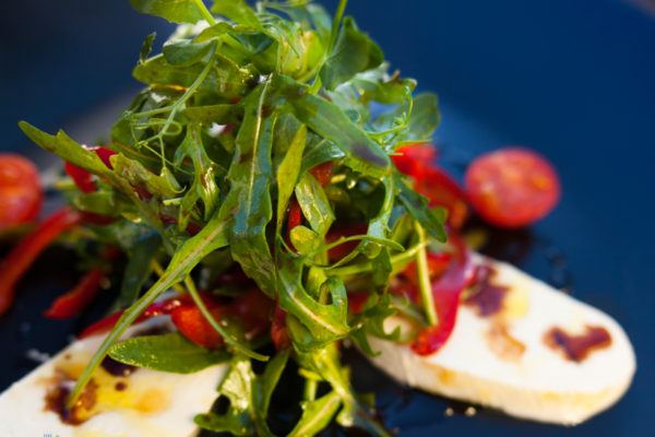 Mozzarella, roasted red bell pepper and rocket salad