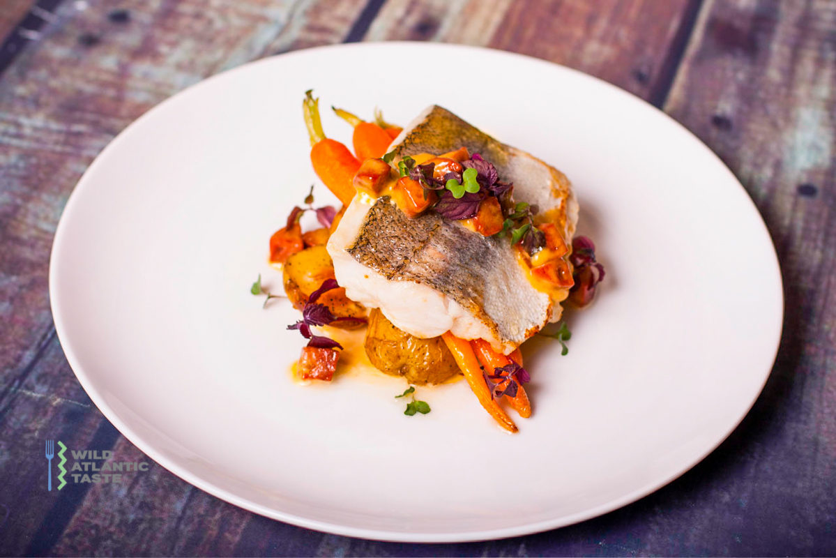 Pan fry Atlantic hake with creamy chorizo sauce