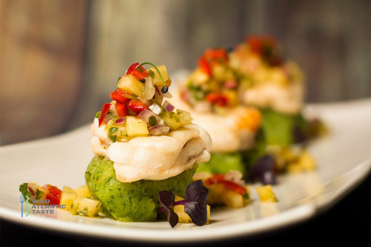 Pan fry monkfish with spinach mash potato and salsa