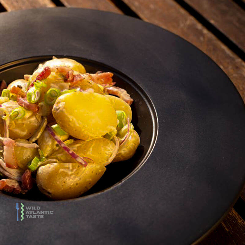 Potato salad with smoked bacon