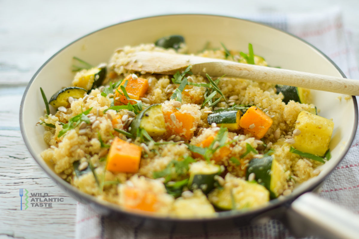 Quinoa risotto with roast butternut squash and zucchini