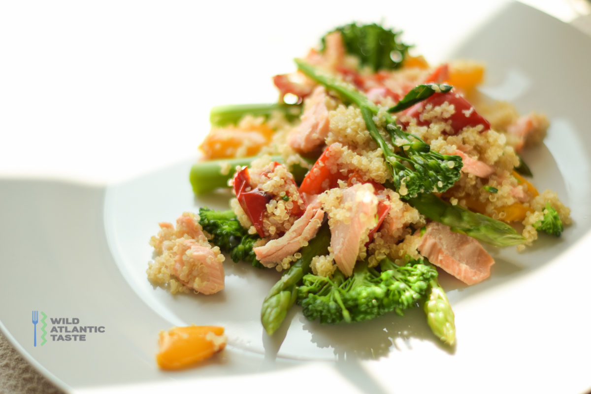 Quinoa salad with Atlantic salmon