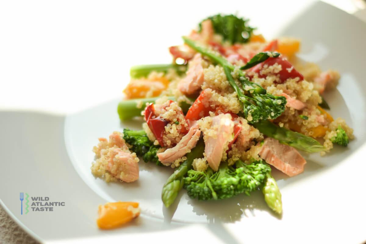 Quinoa salad with Atlantic salmon