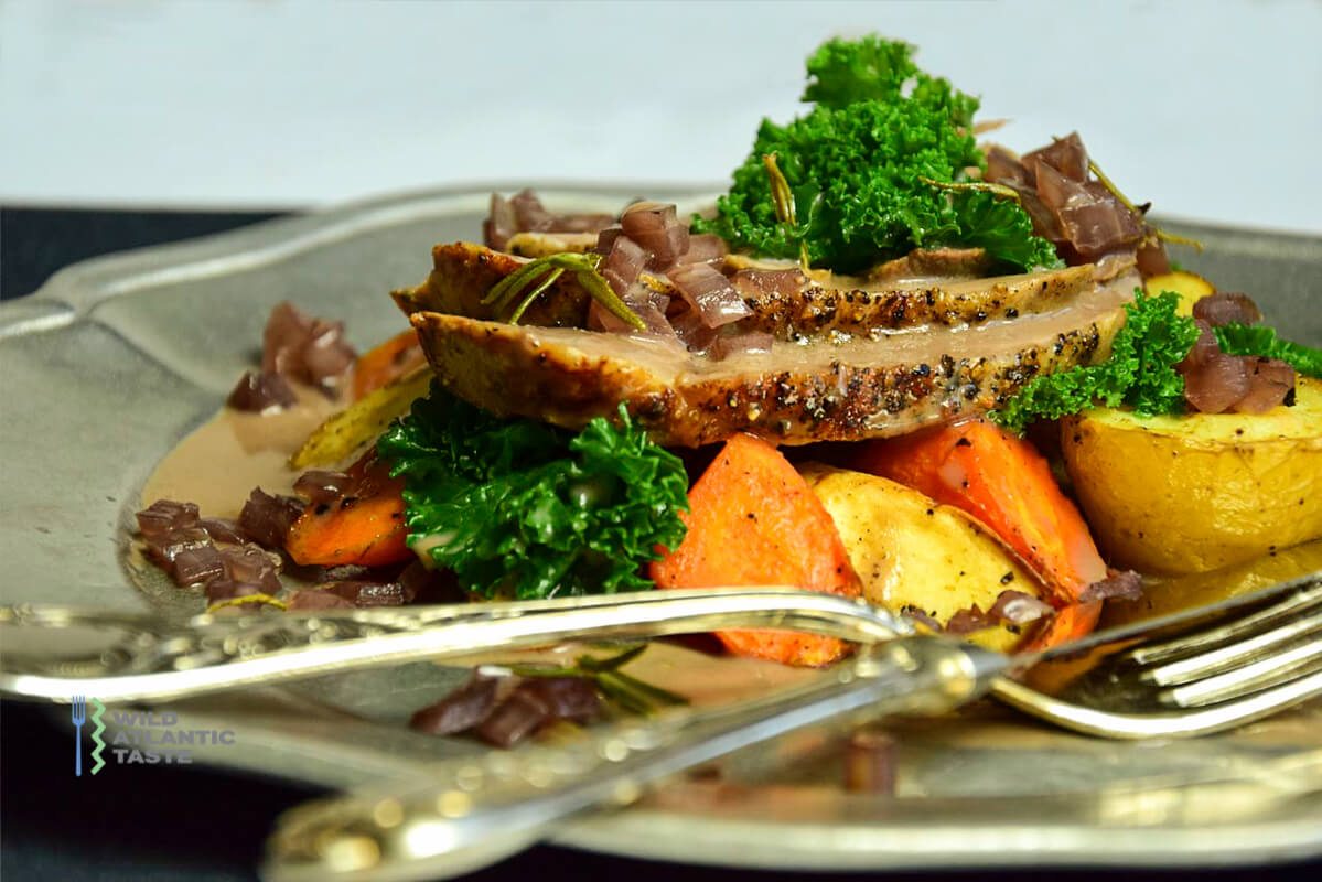 Roast leg of lamb with a root vegetable