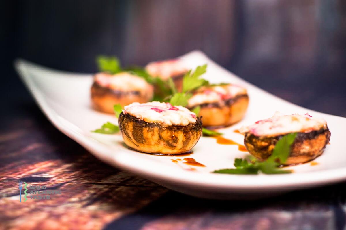 Roast mushroom stuffed with goat cheese and radish
