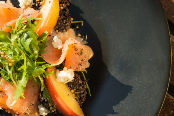 Smoked salmon and black pudding salad with caramelized apples