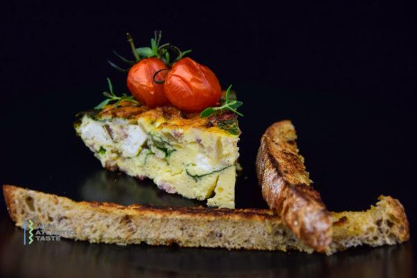 Spinach, feta & bacon frittata