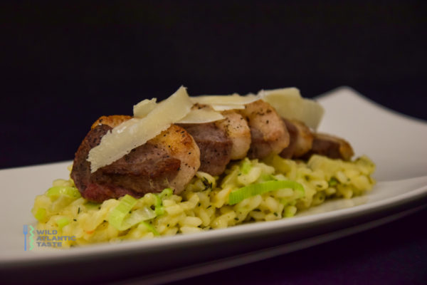 Thyme and leek risotto with crispy duck breast