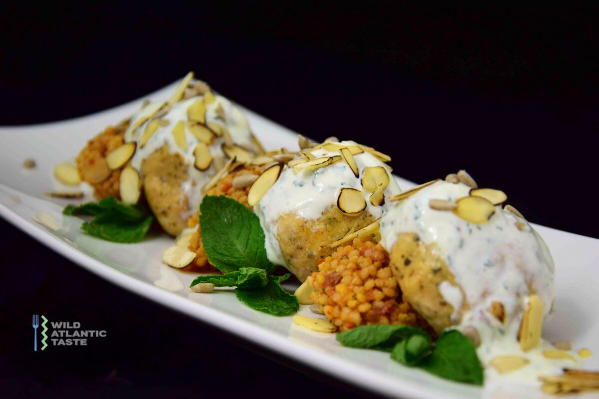 Turkey meatballs with quinoa and mint yoghurt sauce