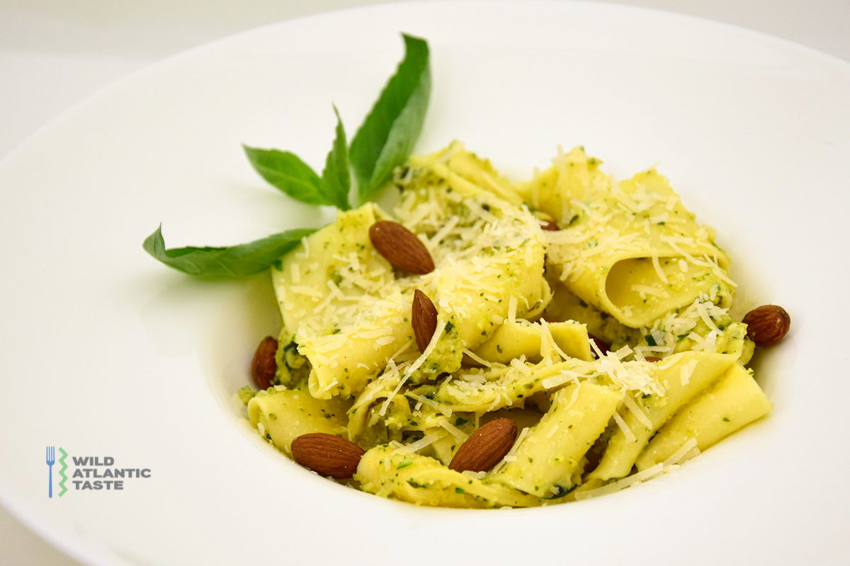Zucchini pesto with pappardelle pasta and almonds