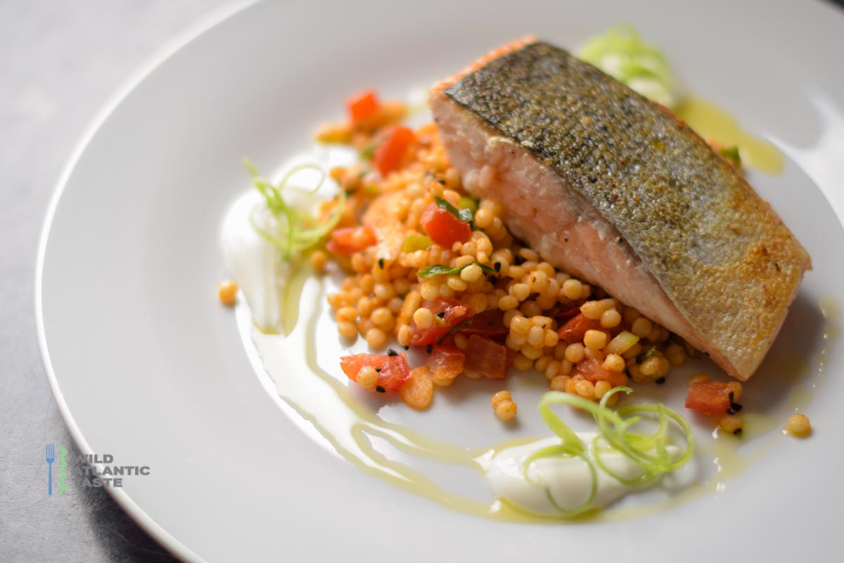 Salmon Over Tomato And Scallion Pearl Couscous Wild Atlantic Taste