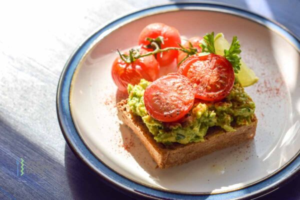 Avocado toast with roasted tomatoes